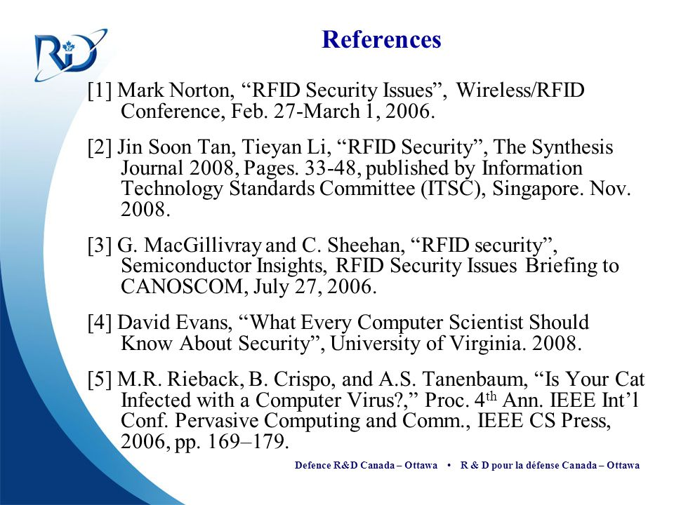 References [1] Mark Norton, RFID Security Issues , Wireless/RFID Conference, Feb. 27-March 1, 2006.